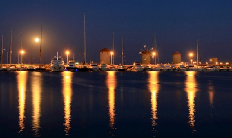 Mandraki Marina By Night