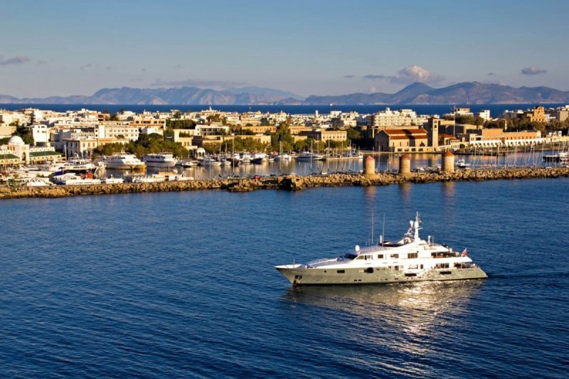Yacht approaching Kolona Port (Mega Yacht Berth)