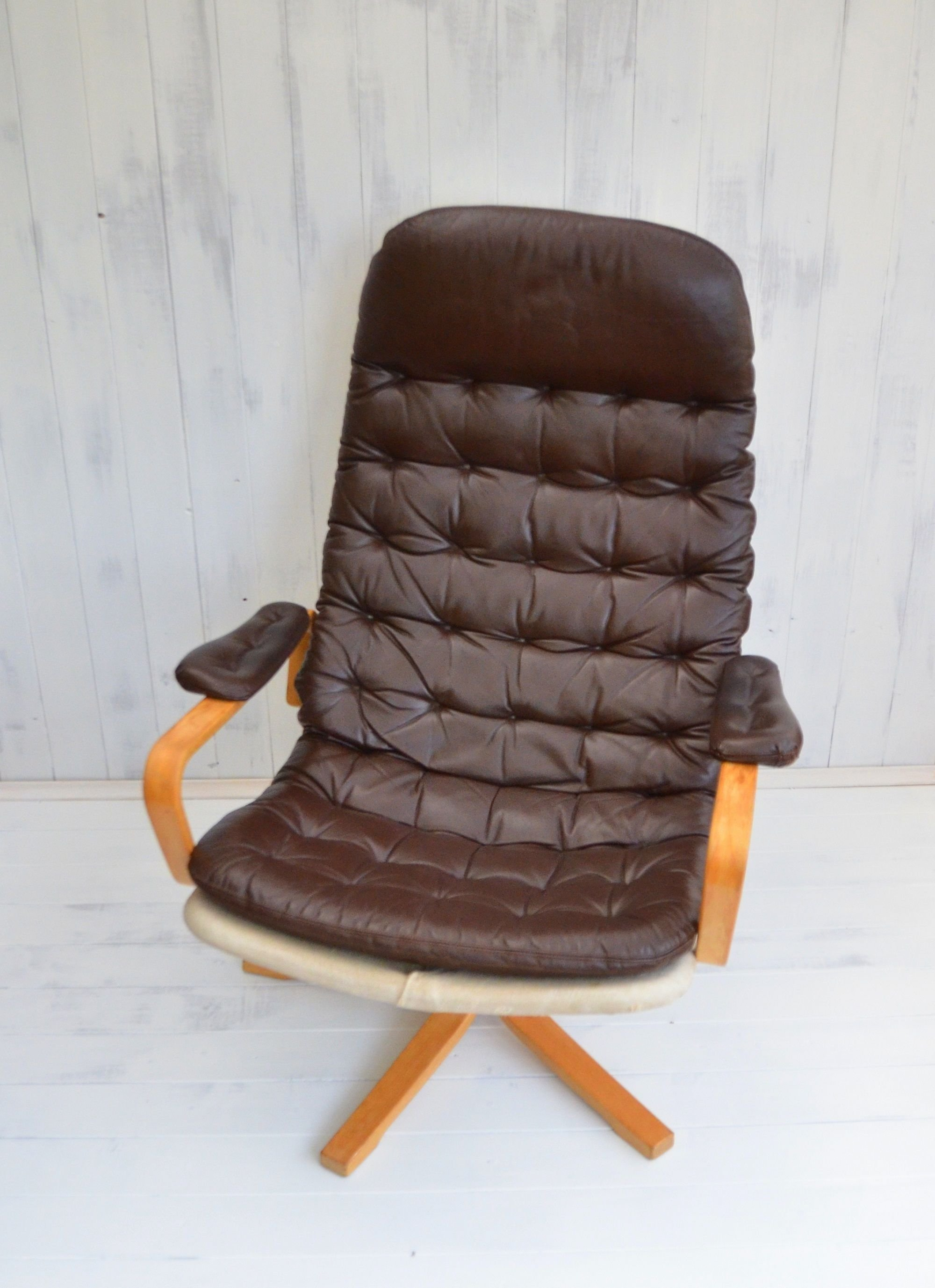 Danish Dux leather swivel chair Squonk Antiques & Salvage