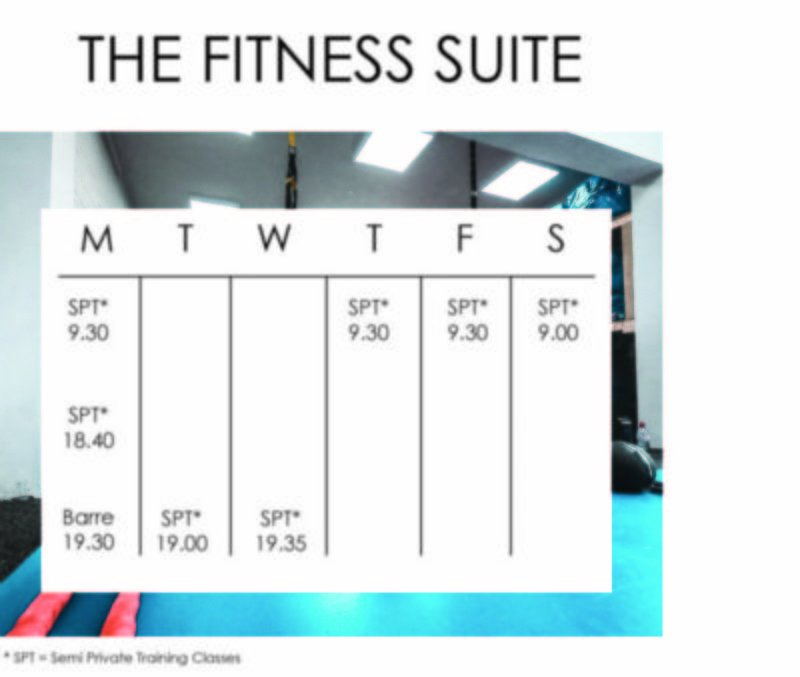 The Fitness Suite Time Table