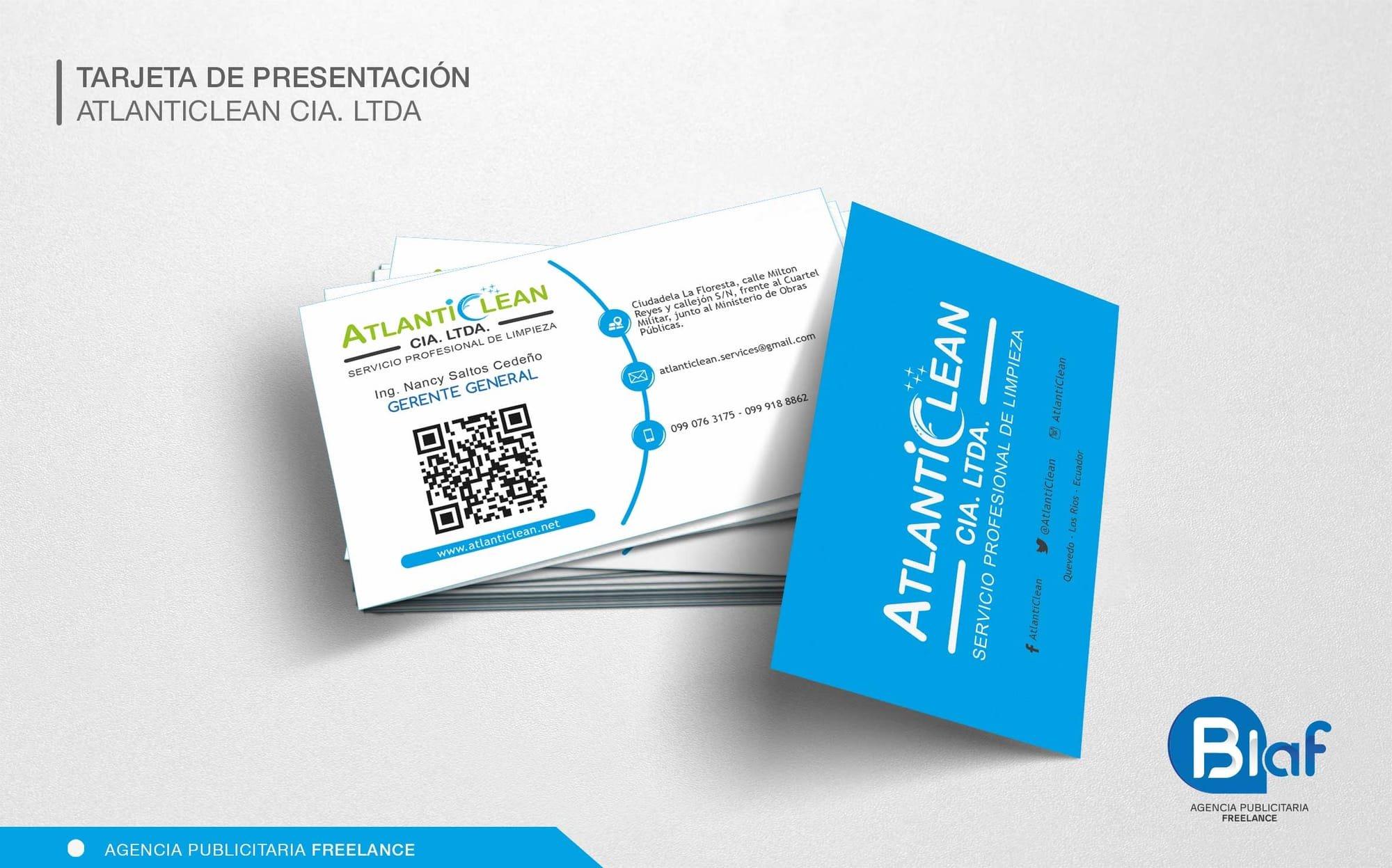 tarjeta de presentación atlanticlean cia ltda blaf studio