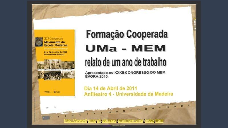 Projeto de Formação Cooperada UMa-MEM