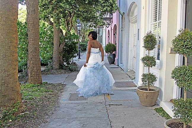 Charleston Rainbow Row Bride
