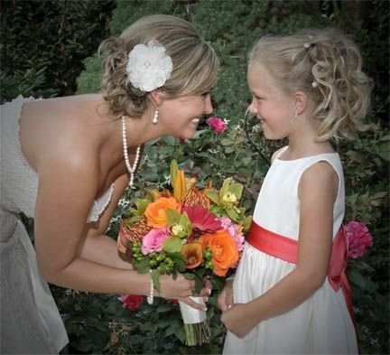 Charleston Bride with flower girl