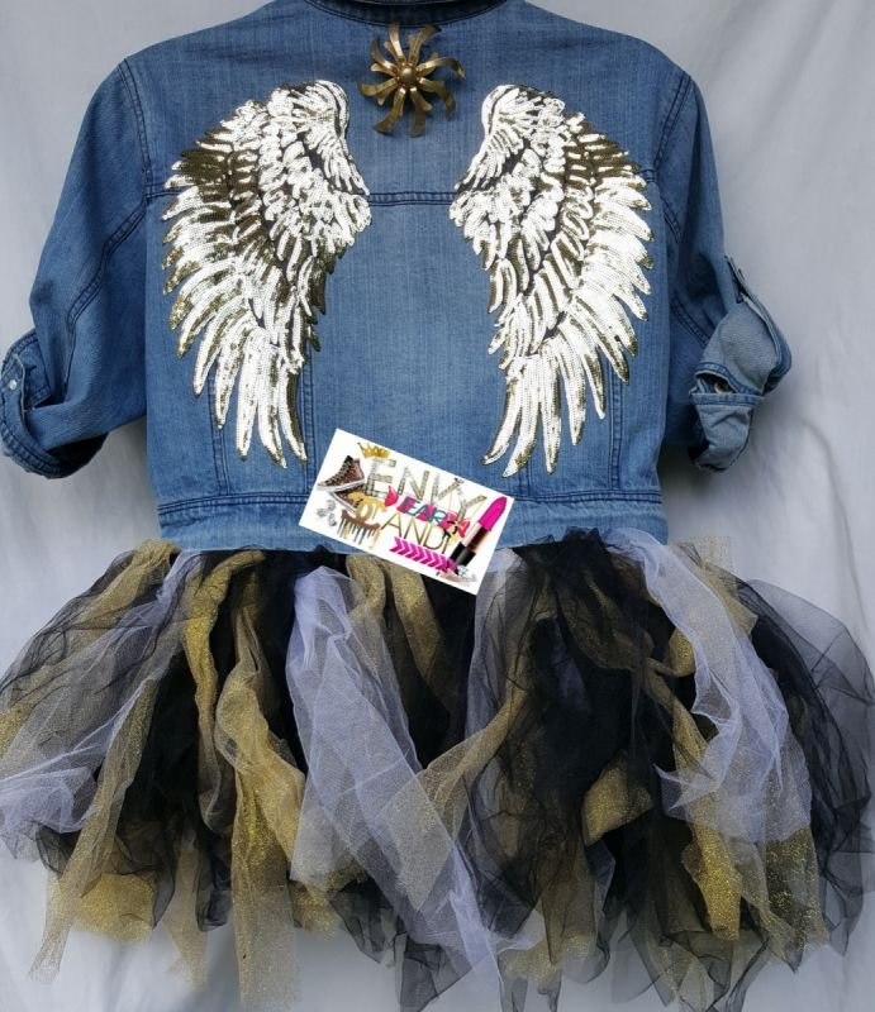 TuTu Tulle Custom Denim Jacket - Be Fierce   !!! Be Bold