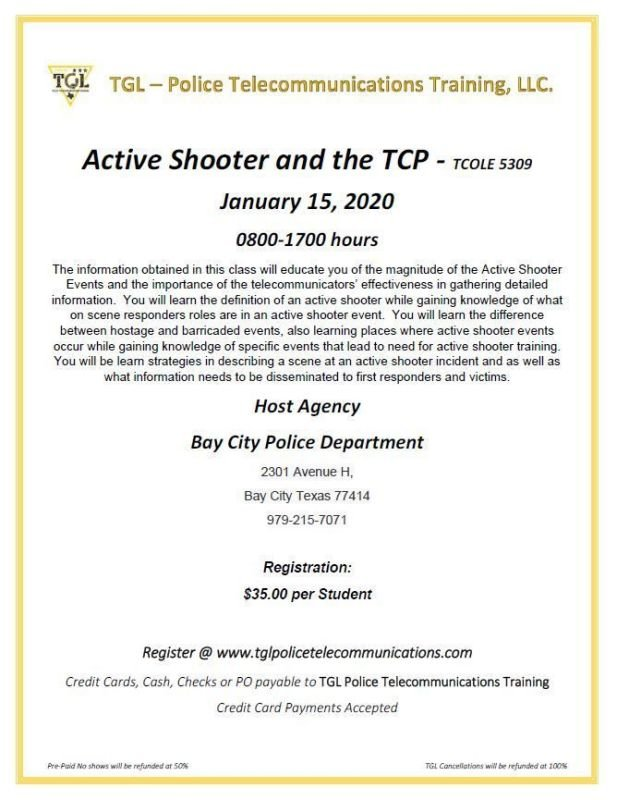 Active Shooter and the TCP - TCOLE 5309 - TGL-Police