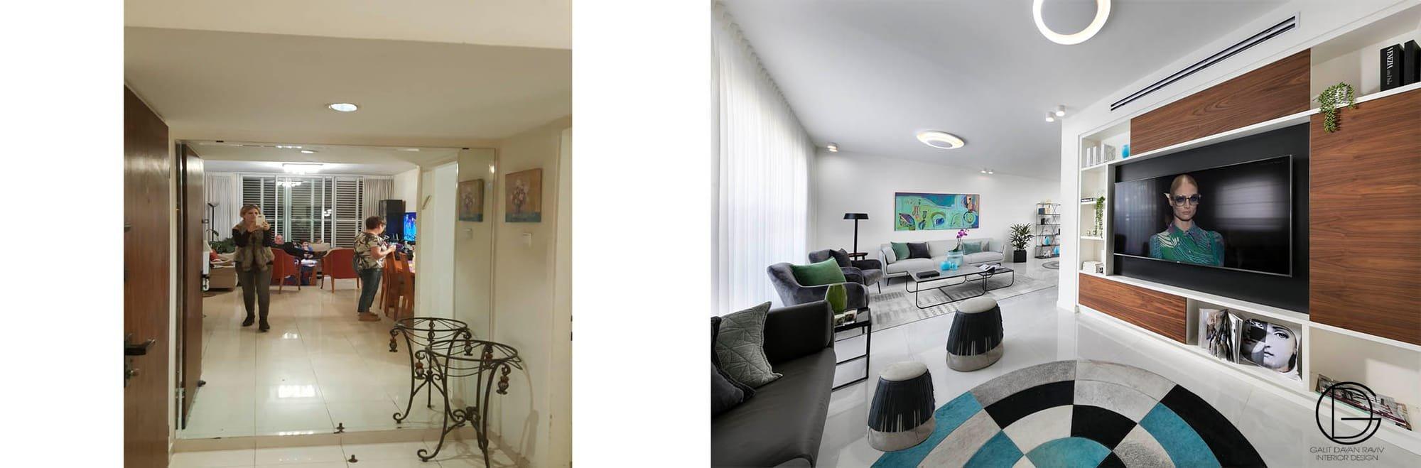 תמונות הסלון לפני ואחרי השיפוץ