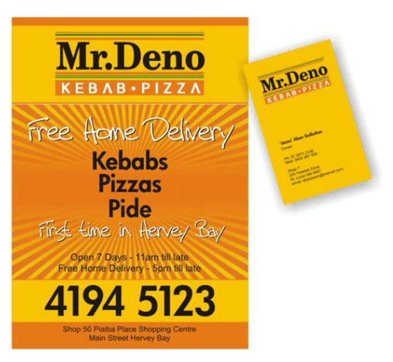 Menu and business card - Mr Deno Kebabs