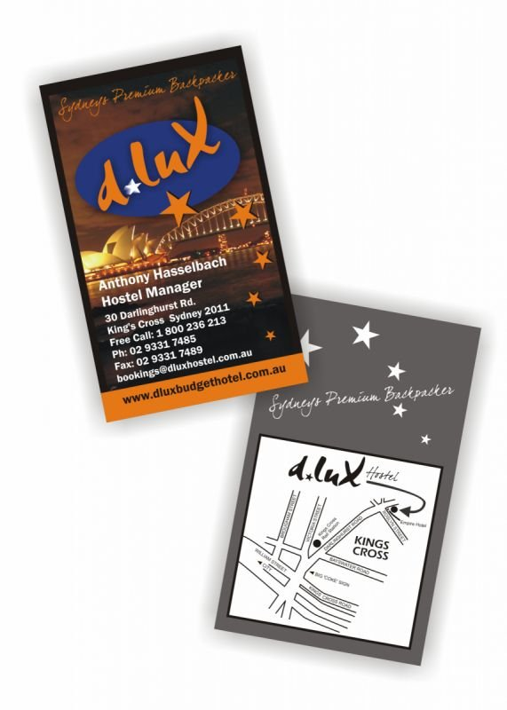 Business Cards - D-lux Backpackers Sydney