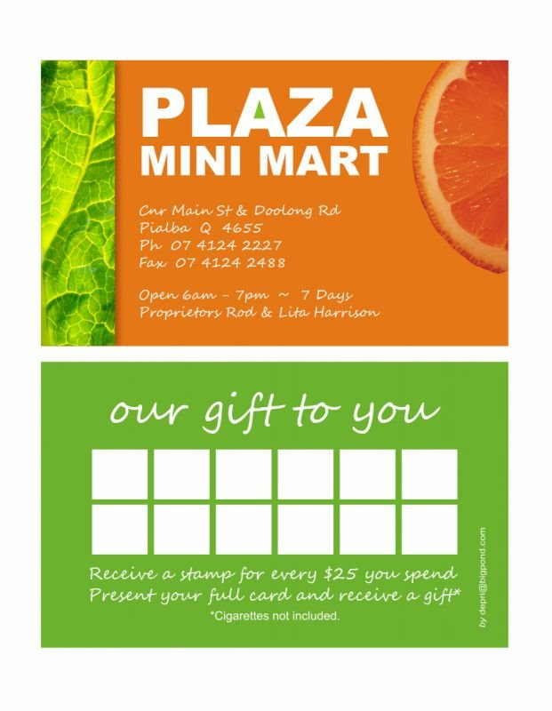Business / rewards card - Plaza Mini Mart