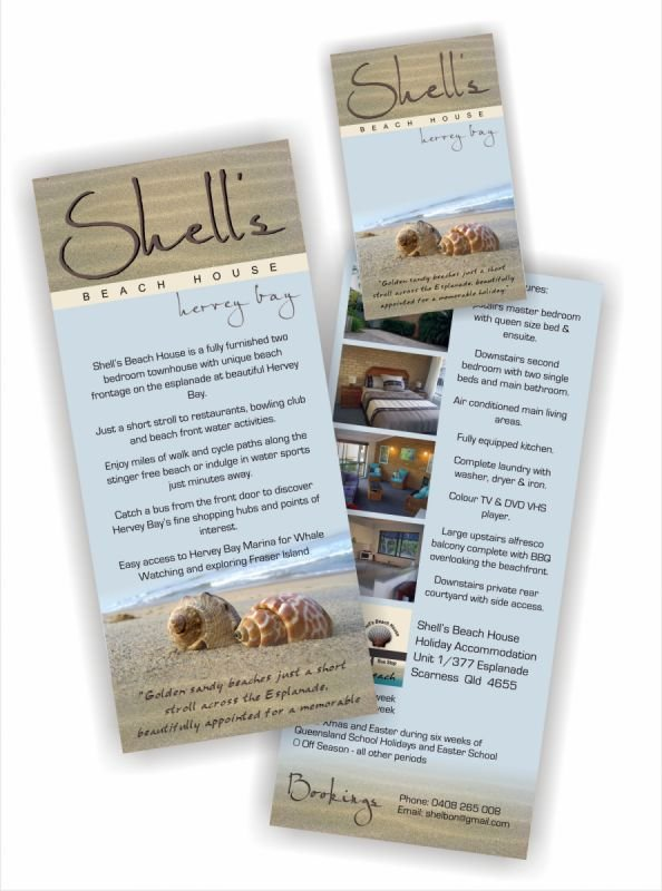 Business card and DL brochure - Shells Beach House - Hervey Bay