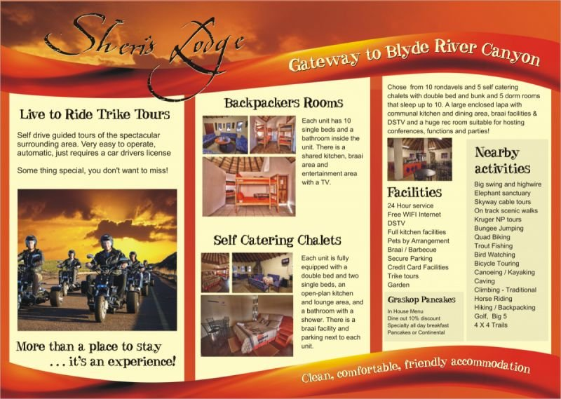 A4 to DL roll fold brochure - Sheris Lodge - Africa