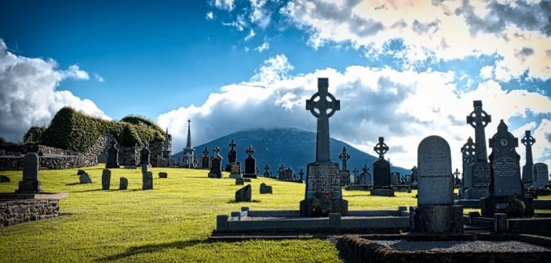 Addergoole Cemetery in the shadow of Nephin