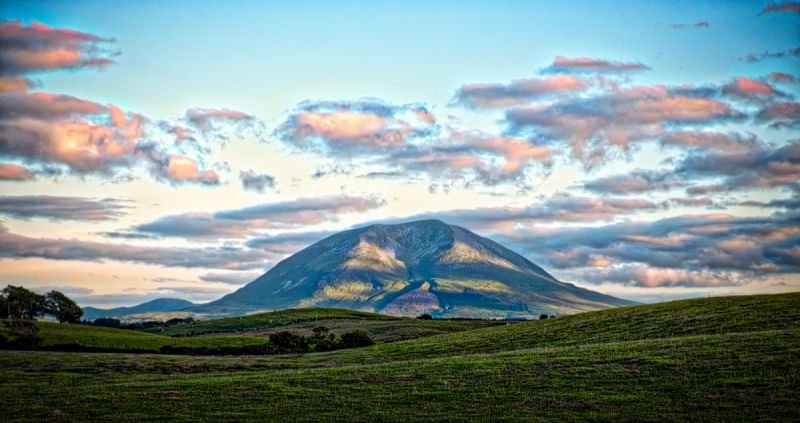 Nephin in dappled evening sunlight
