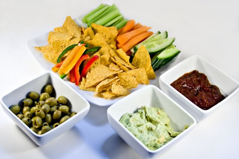 Chips dips and crudities