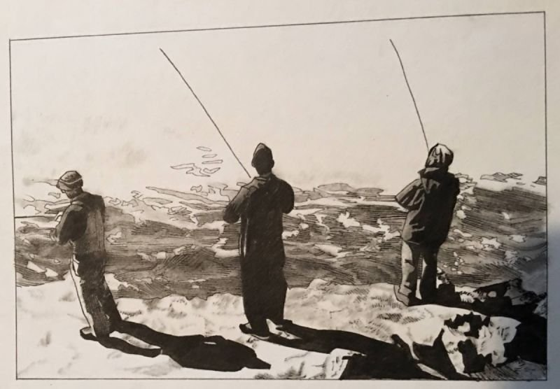 Three men fishing