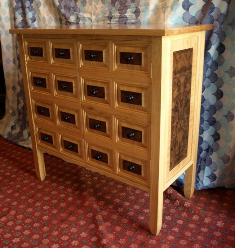 oak and black walnut burr veneered cabinet