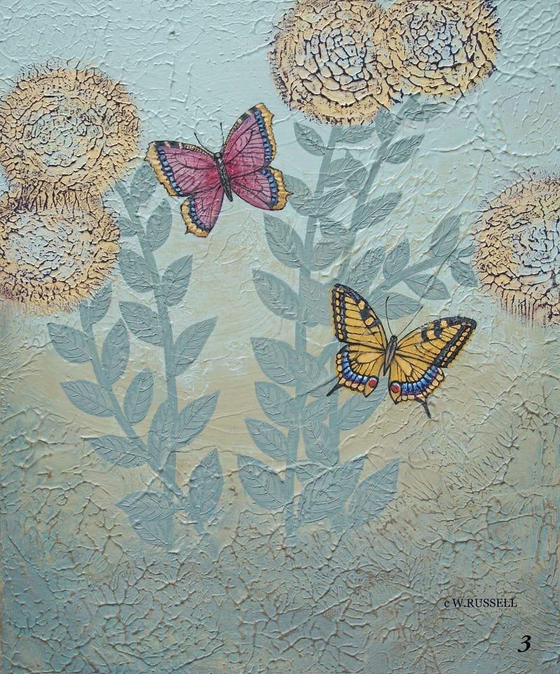 Textured Garden Series Yellow and Red Butterflies