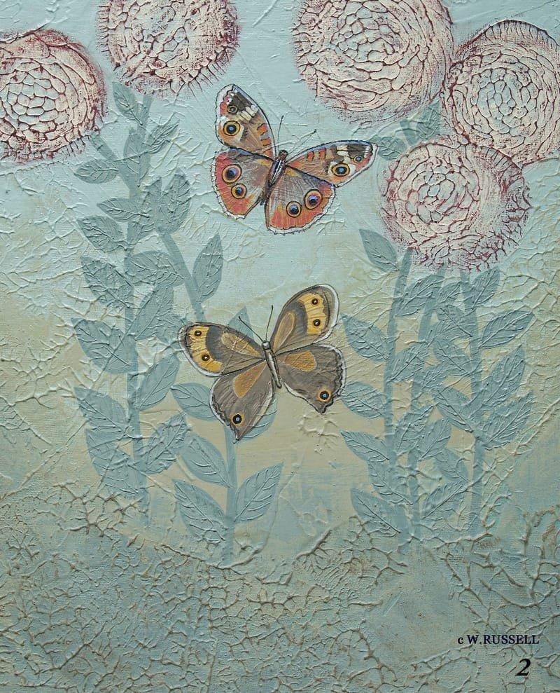 Textured Garden Series Rust and Taupe Butterflies