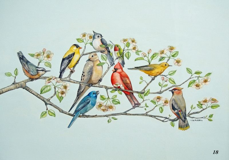 Birds on Blossoming Branches