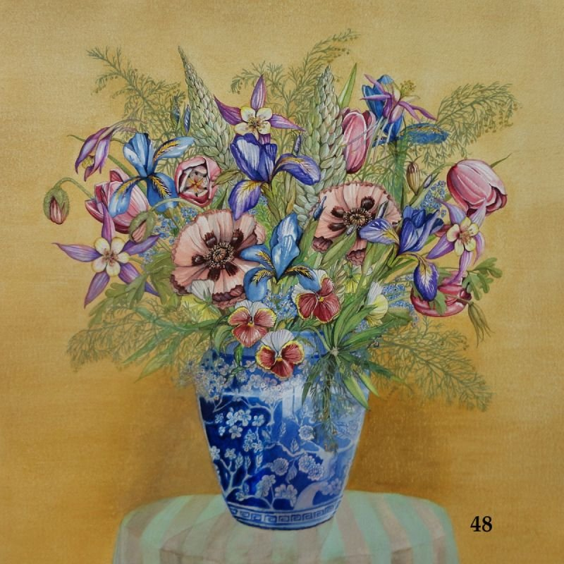 Bouquet in Asian Vase Pink Poppies