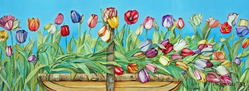 Tulips in a Trug Basket
