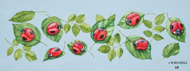 Ladybugs on Green Leaves