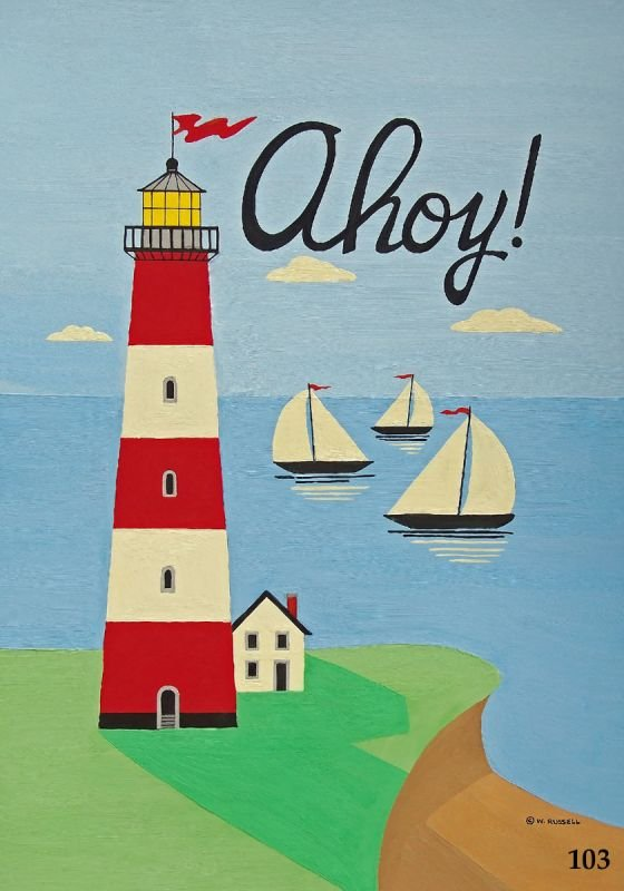 AHOY! Vertical Red and White Lighthouse Scene
