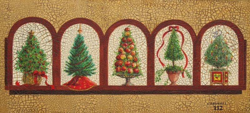 Holiday Decorated Topiary Trees