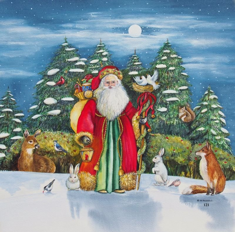 Moonlit Santa with Forest Animals