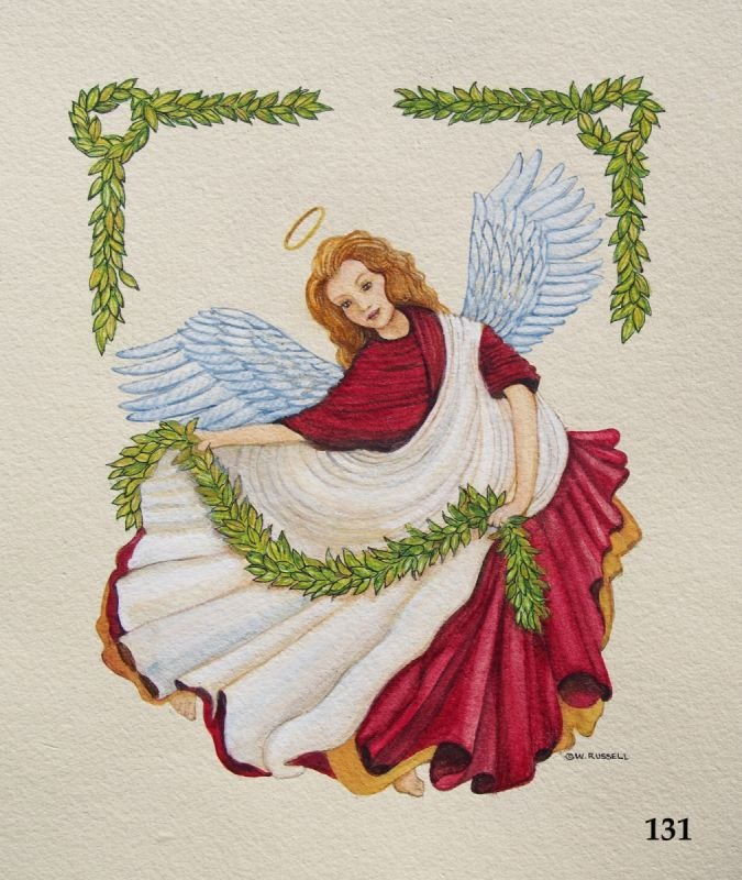 Victorian Angel with leafy garlands