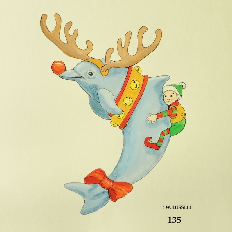 Dolphin with Elf Holiday Ornament