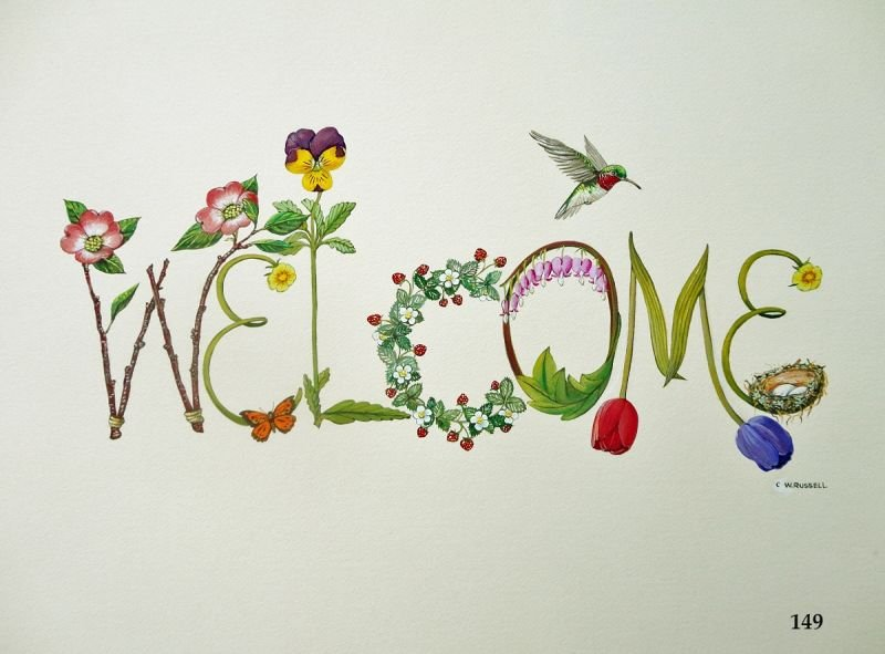 Welcome Sign With Decorative Letters