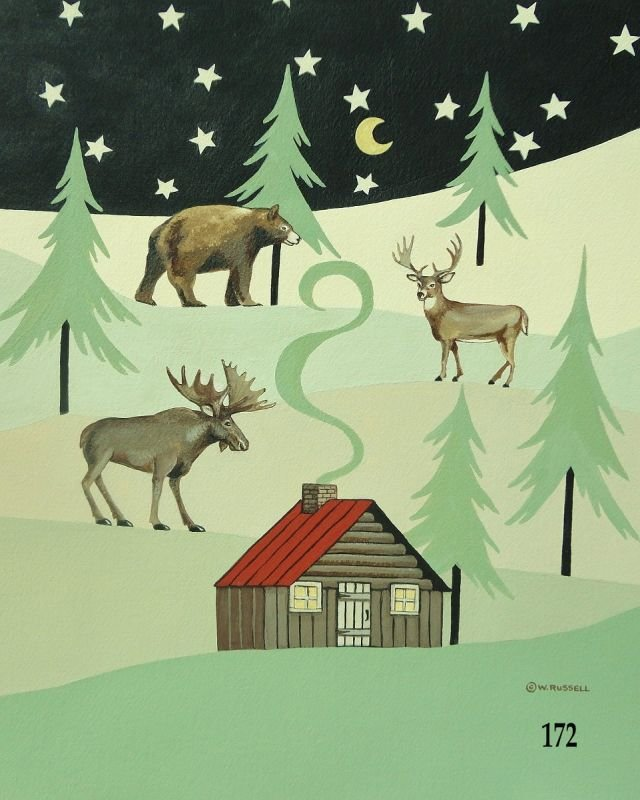 Lodge Style Cabin and Forest Animals