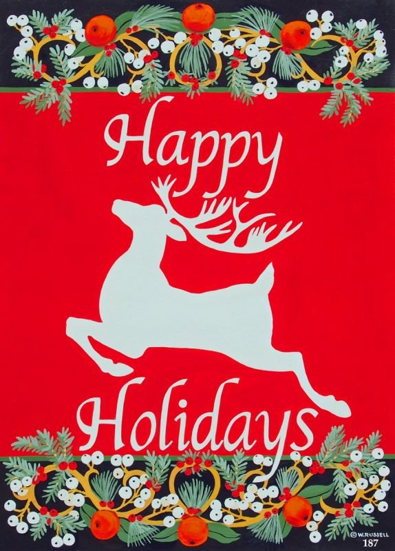 Red and White Reindeer Happy Holidays
