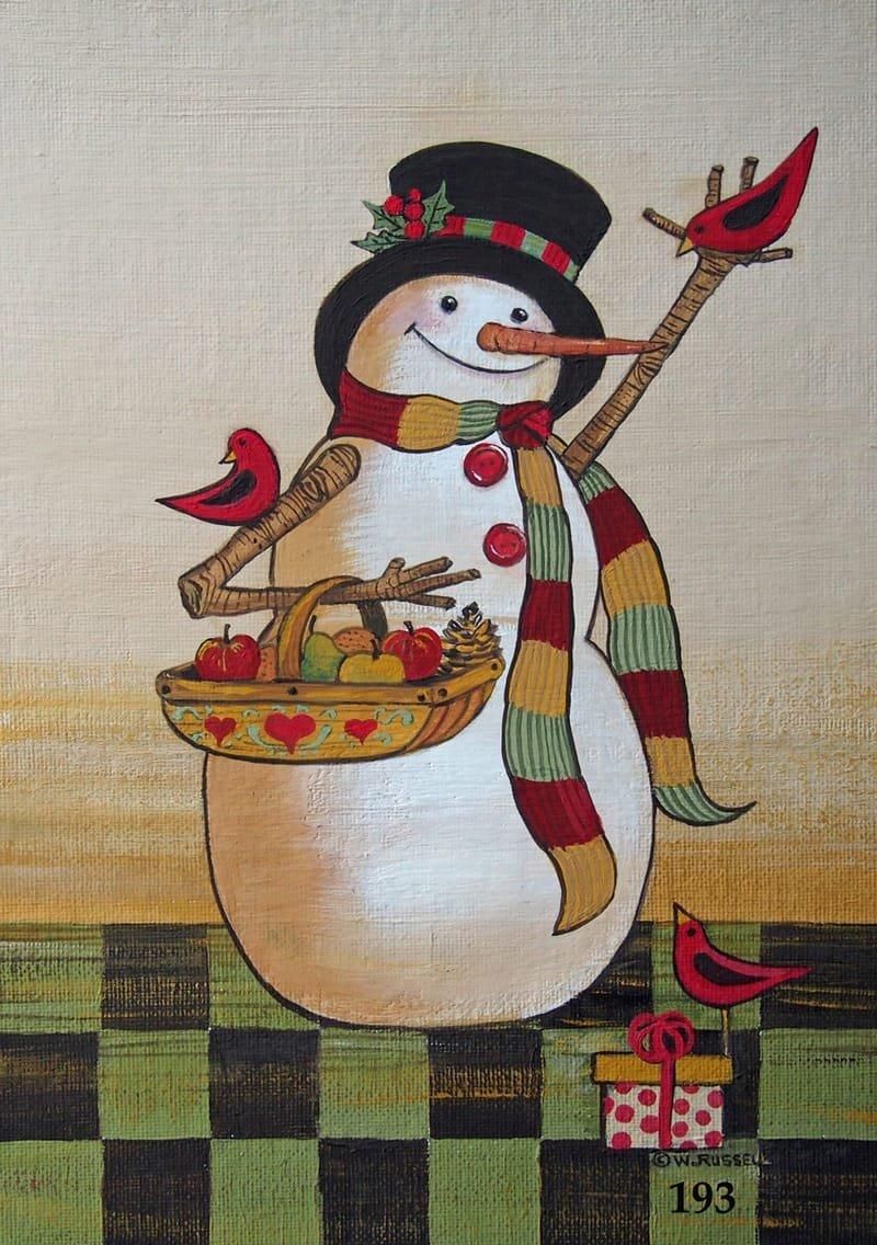 Folk Art Christmas Snowman