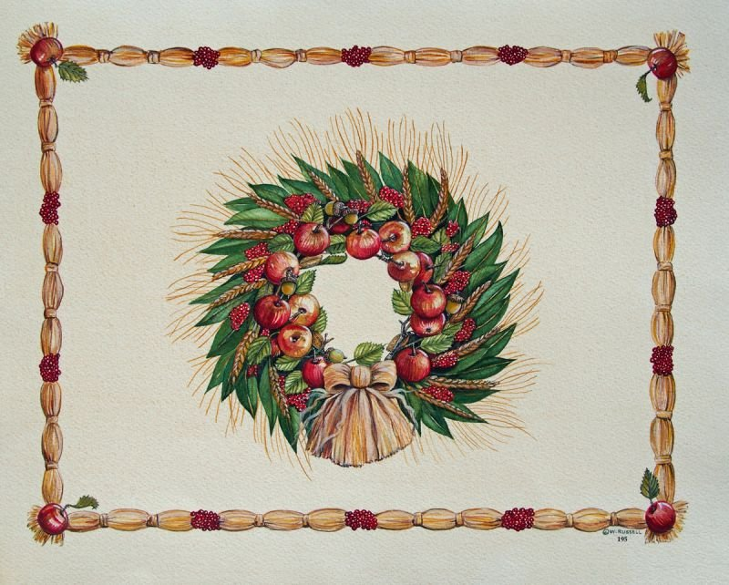 Holiday Apple and Wheat Wreath