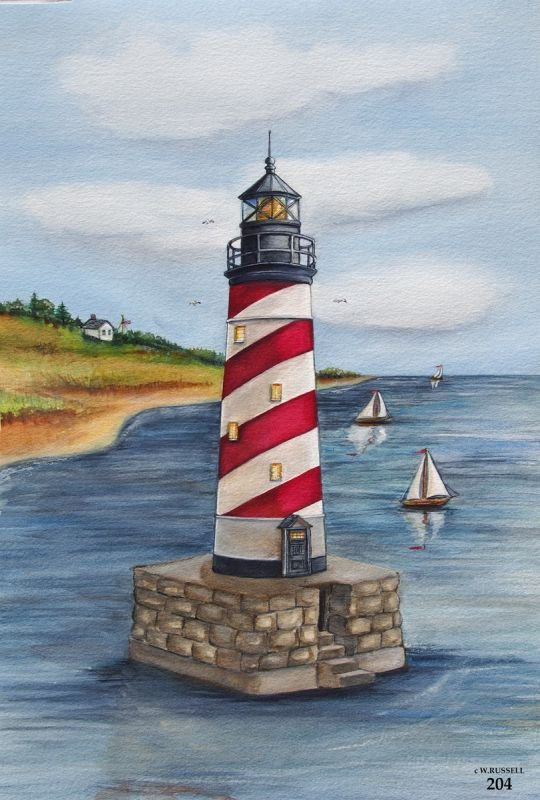 Lighthouse Red and White Diagonal Stripes