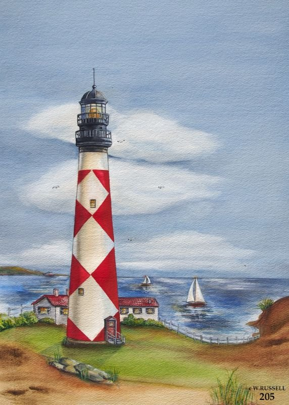 Lighthouse with Red and White Diamonds