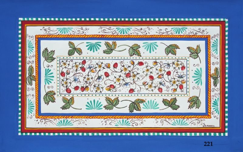 Italian Style Overall Strawberries with Blue Border