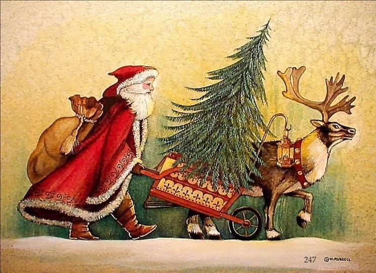 Country Santa with Wheelbarrow Tree and Reindeer Rough Sketch