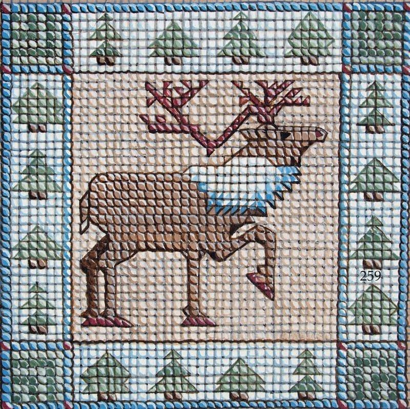 Holiday Needlepoint Style Reindeer