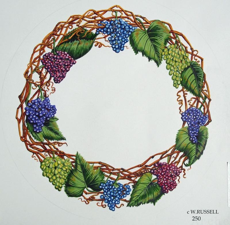 Holiday Grapevine and Grapes Wreath Border