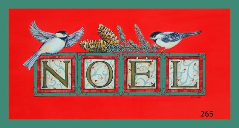 Holidays NOEL Chickadees on Red