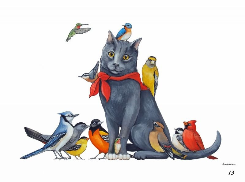 Cat Birds Christmas