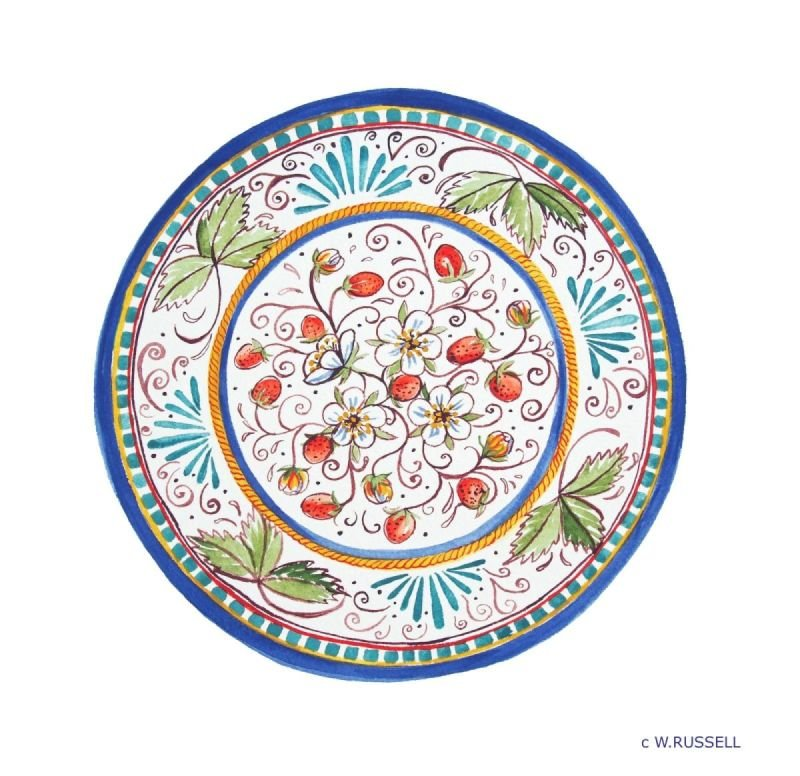 Italian Style Strawberries Circular Plate Design