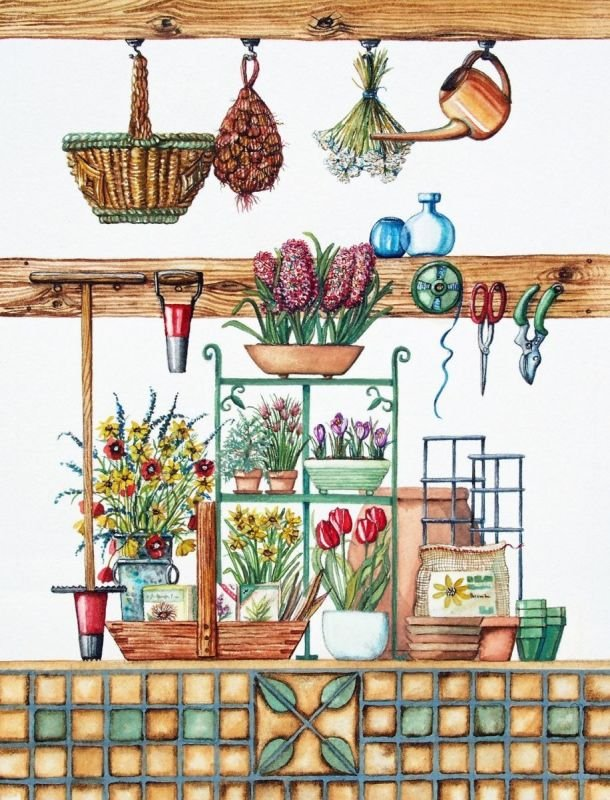 Garden Shed Series with Spring Bulbs