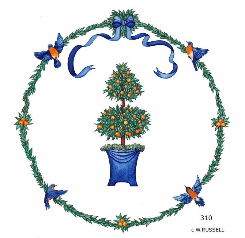 Round Design Topiary with Bluebirds Greens and Oranges