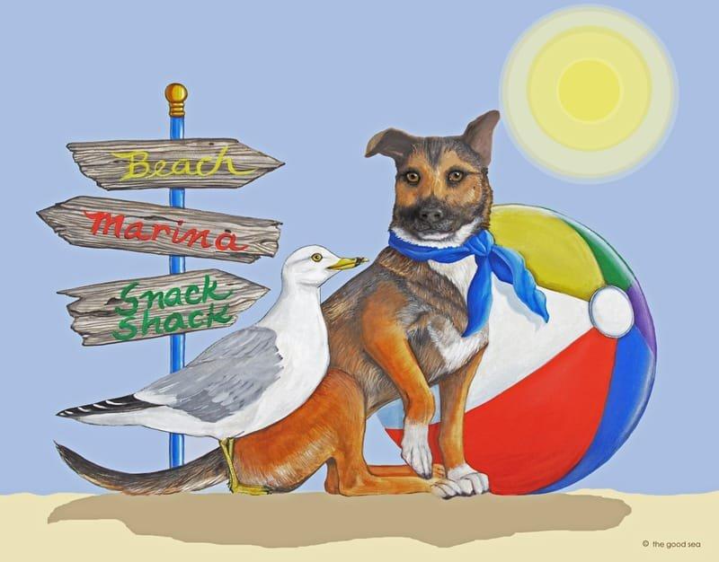 Beach Dog with Background