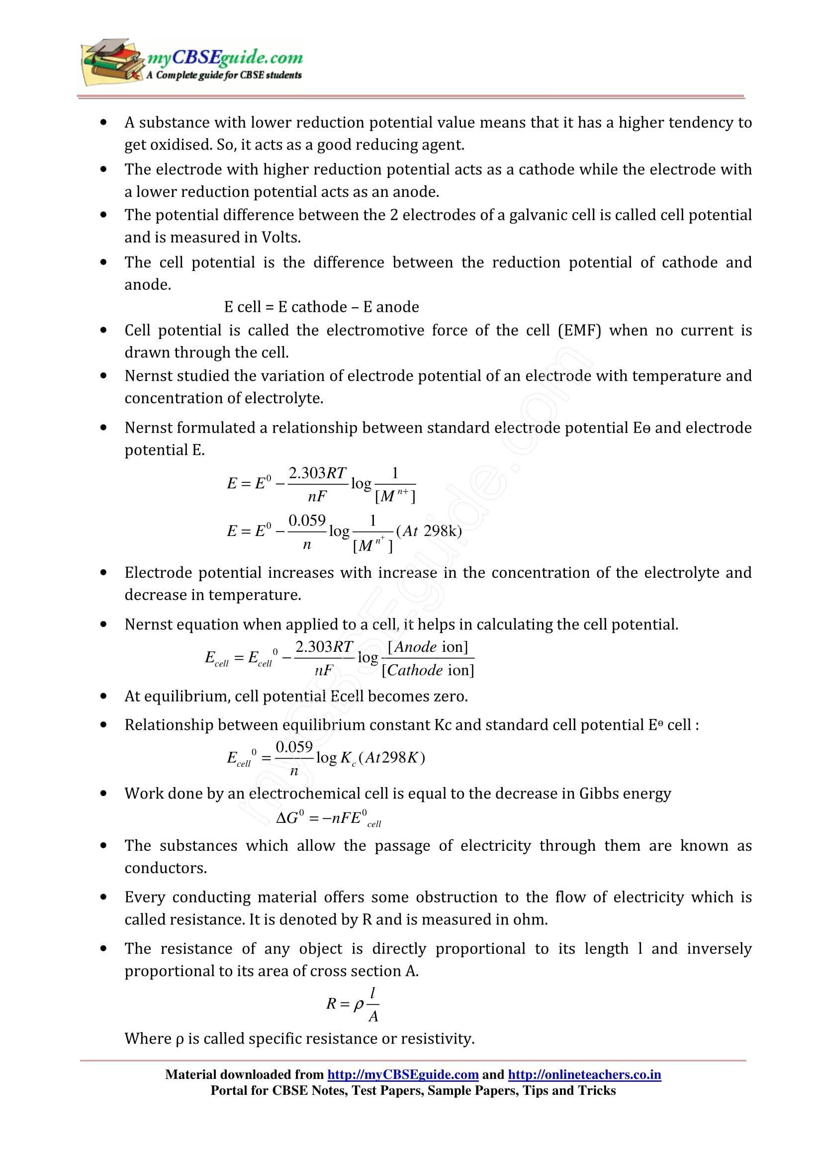 Importance Of Nernst Equation